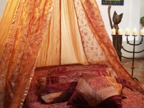 Oriental canopy1001 night, bed canopy, mosquito net- ochre