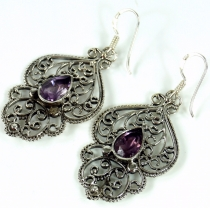Facet cut Amethyst earrings