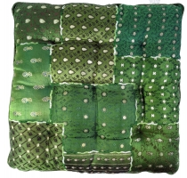 Oriental brocade quilted cushion, chair cushion 40*40 cm - green