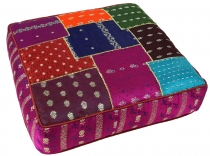 Oriental square patchwork cushion 50 cm, seat cushion, bottom cus..