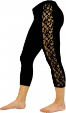 3/4 Psytrance, Goa Damen Leggings, Festival Party Hose mit Spitze..