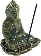 Ceramic incense stick holder Buddha green - model 22