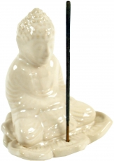 Ceramic incense stick holder Buddha white - model 19