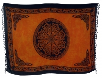 Bali Sarong, Wandbehang, Wickelrock, Sarongkleid - Celtic orange