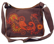 shoulder bag, hippie bag, Goa bag - cappuccino/orange