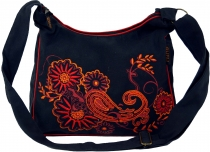 Shoulder bag, Hippie bag, Goa bag - black/red