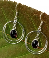Silver earrings Bollywood 3 - Garnet