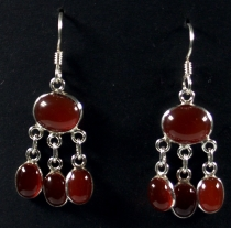 Silver Earrings Bollywood 1 Carnelian