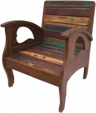 Chair, armchair in recycled teak with curved armrests - model 1