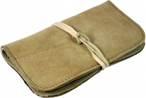 Tobacco bag, tobacco pouch, leather swivel bag - beige