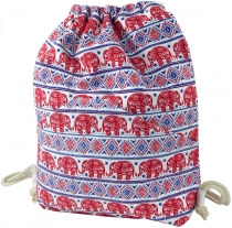 gym bag, ethno backpack, sports bag with elephant print - red/blu..