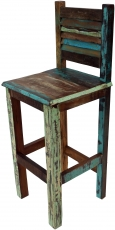 Vintage bar stool made of recycled wood - model 1
