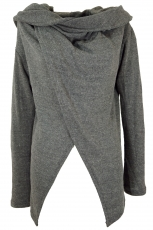 Wrap-around cardigan with wide shawl hood - granite grey