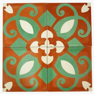 Cement tiles set, Ornament of 4 tiles, red - Design 3 - 1,5x40x40 cm