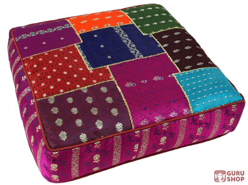 Orientalisches Eckiges Patchwork Kissen 50 Cm Sitzkissen Bodenkissen Mit Baumwollfullung Lila Bunt 15x50x50 Cm I œ 50 Cm