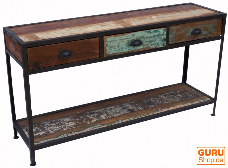 Vintage Sideboard With 3 Drawers Metal And Recycled Wood Model 2