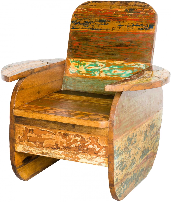 Holz Sessel Stuhl aus recyceltem Teakholz Modell 6 88x92x75 cm