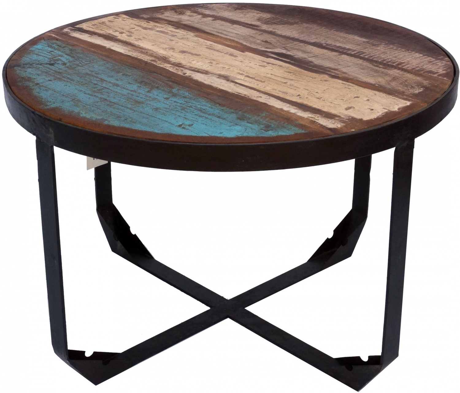 - Vintage Coffee Table, Coffee Table Made Of Metal And Recycled Wood - Model  6 - 50x75x75 Cm
